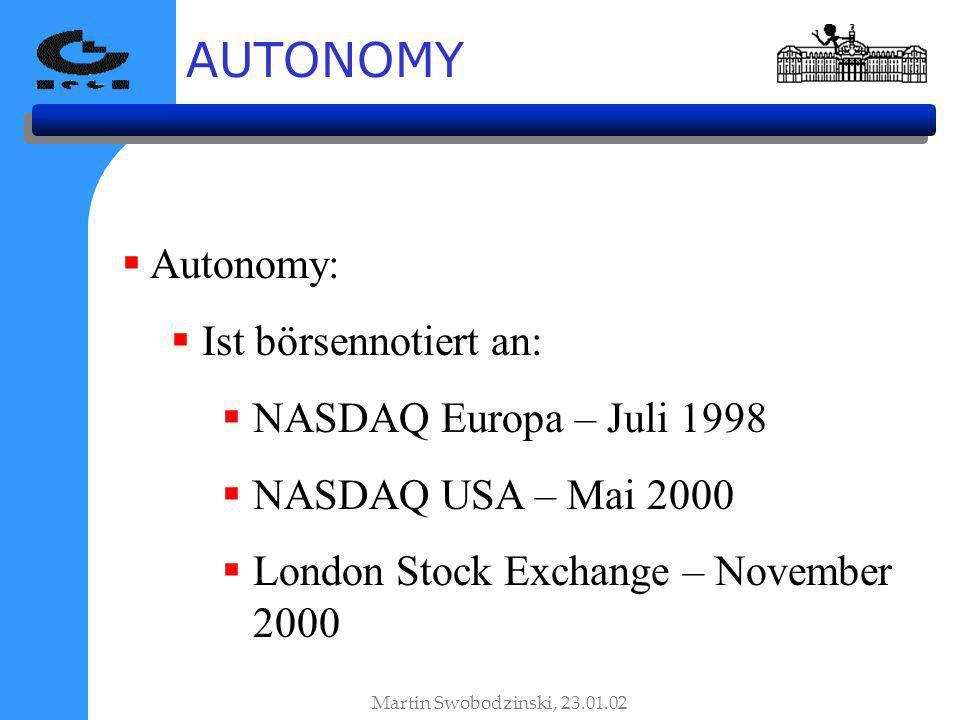 AUTONOMY Autonomy: Ist börsennotiert an: NASDAQ Europa – Juli 1998