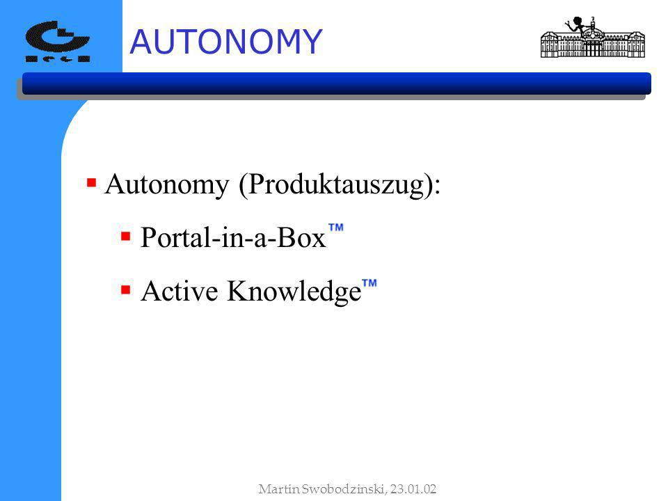 AUTONOMY Autonomy (Produktauszug): Portal-in-a-Box Active Knowledge