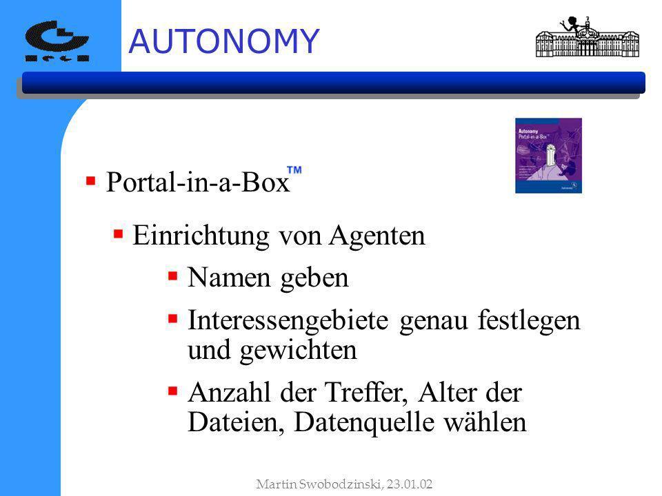 AUTONOMY Portal-in-a-Box Einrichtung von Agenten Namen geben