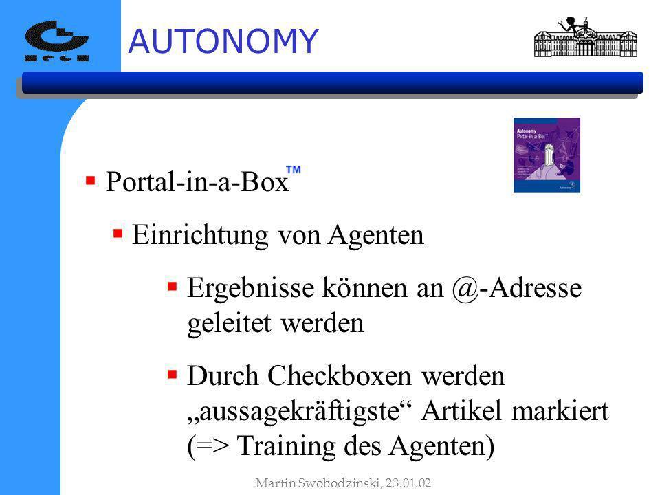 AUTONOMY Portal-in-a-Box Einrichtung von Agenten