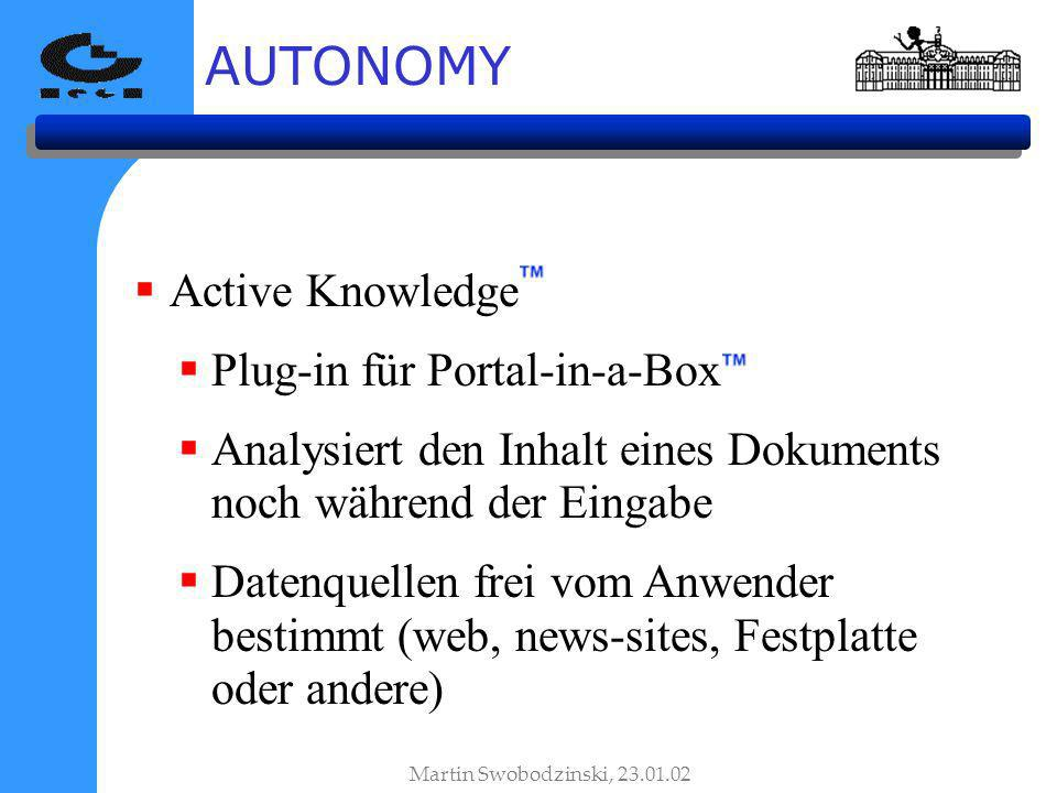 AUTONOMY Active Knowledge Plug-in für Portal-in-a-Box