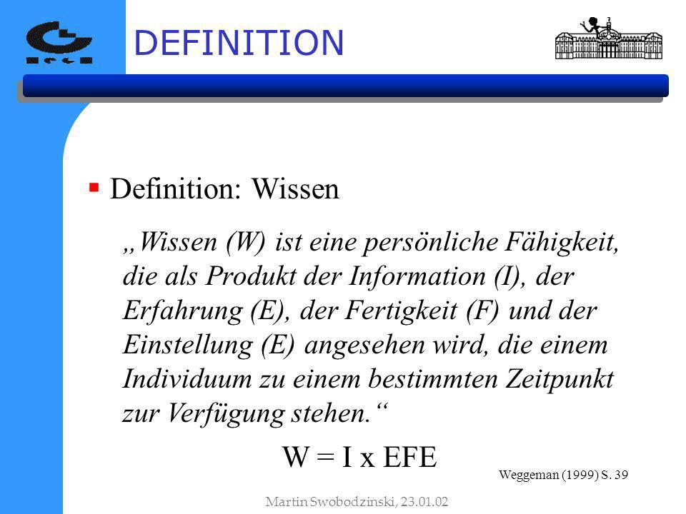 DEFINITION Definition: Wissen W = I x EFE