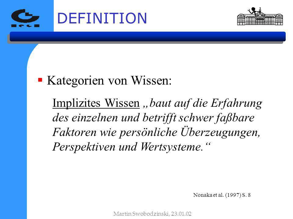 DEFINITION Kategorien von Wissen: