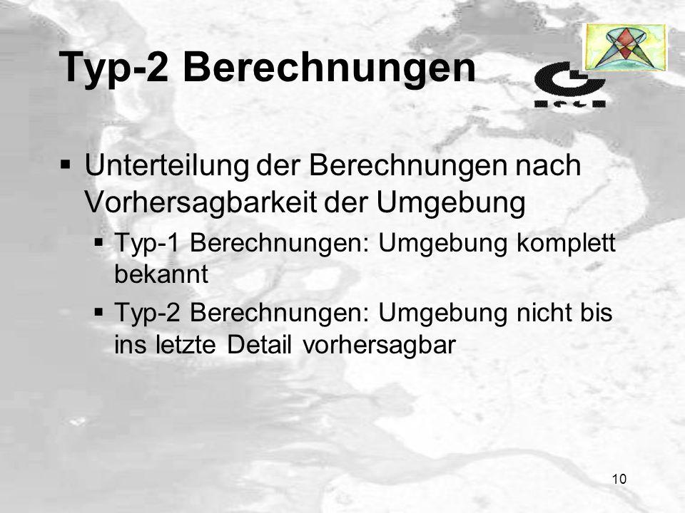 Typ-2 Berechnungen Unterteilung der Berechnungen nach Vorhersagbarkeit der Umgebung. Typ-1 Berechnungen: Umgebung komplett bekannt.