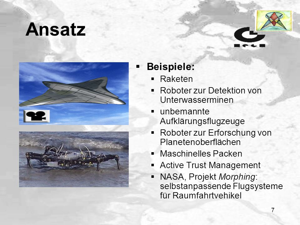 Ansatz Beispiele: Raketen Roboter zur Detektion von Unterwasserminen