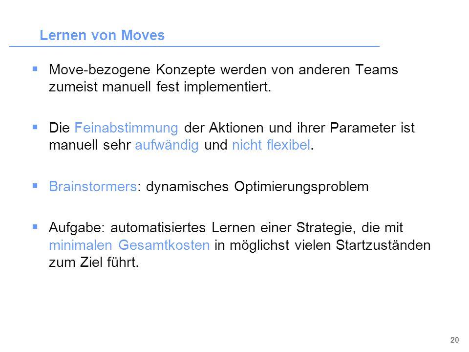 Lernen von Moves Move-bezogene Konzepte werden von anderen Teams zumeist manuell fest implementiert.