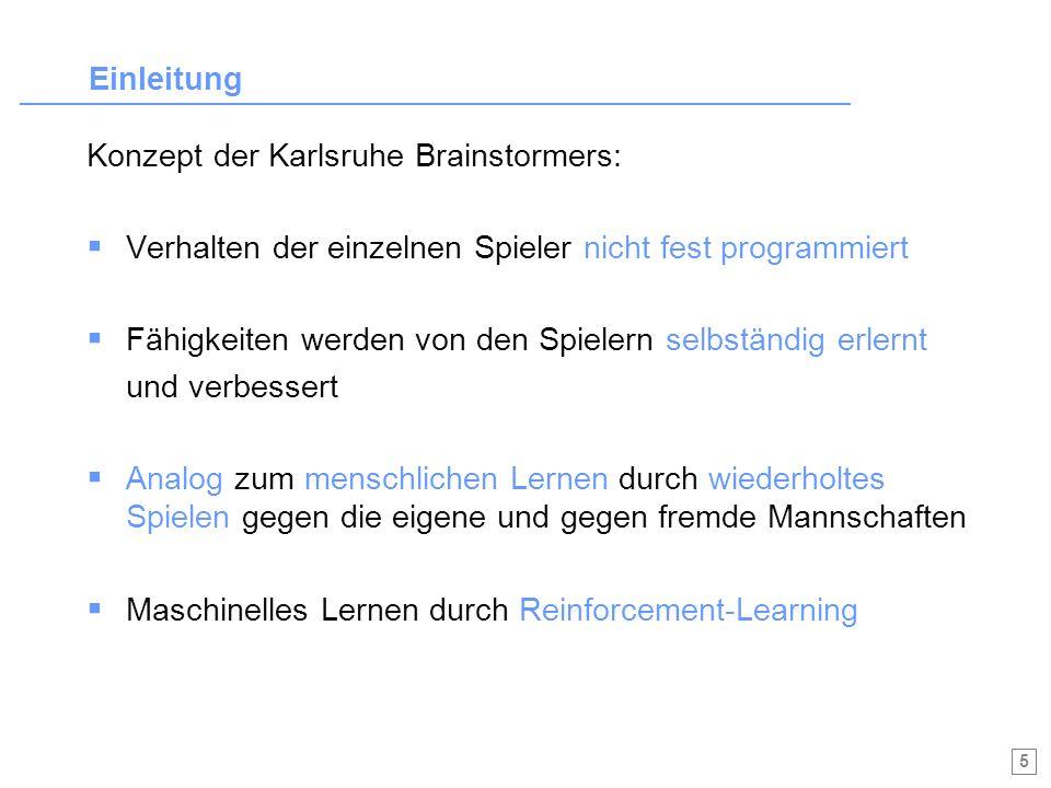 Einleitung Konzept der Karlsruhe Brainstormers: Verhalten der einzelnen Spieler nicht fest programmiert.