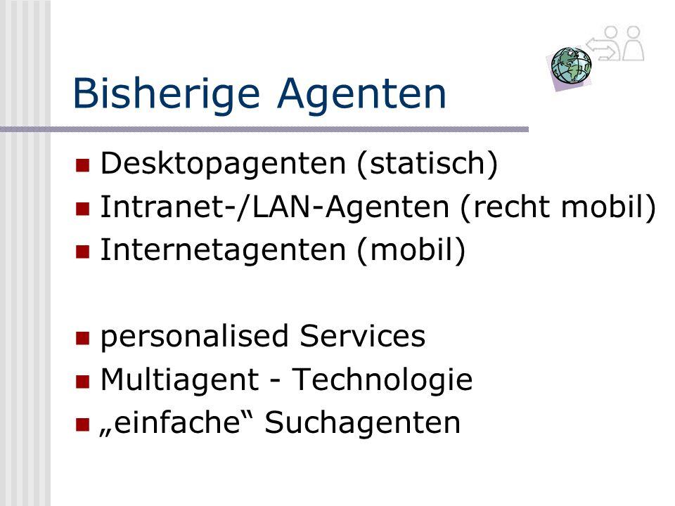 Bisherige Agenten Desktopagenten (statisch)