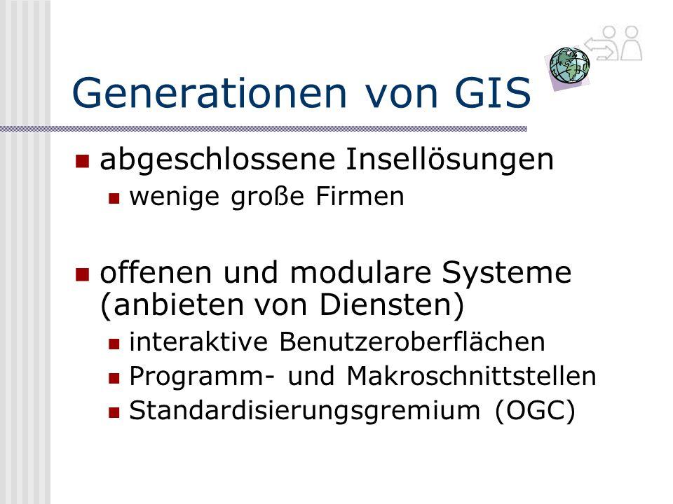Generationen von GIS abgeschlossene Insellösungen