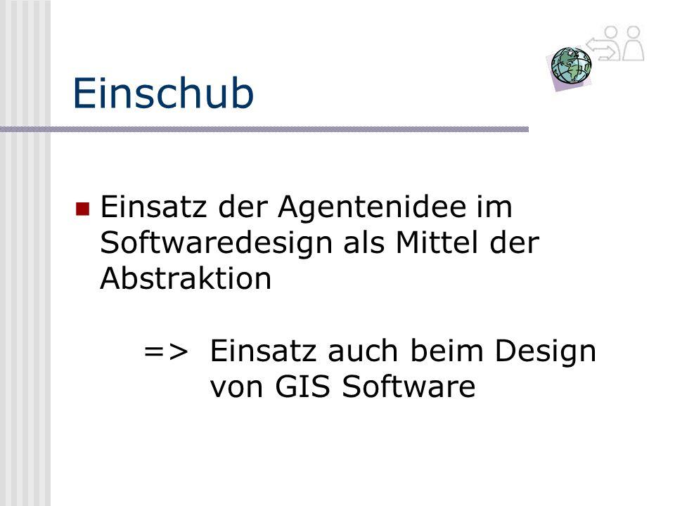Einschub Einsatz der Agentenidee im Softwaredesign als Mittel der Abstraktion => Einsatz auch beim Design von GIS Software.