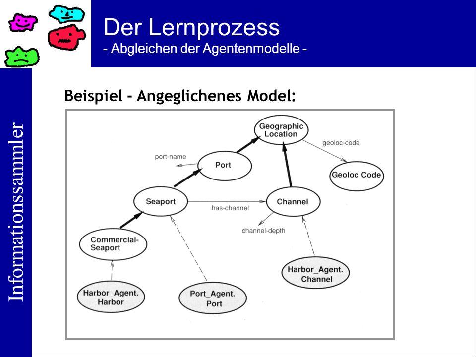 Der Lernprozess - Abgleichen der Agentenmodelle -
