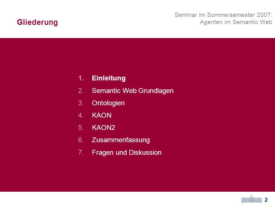 Gliederung Einleitung Semantic Web Grundlagen Ontologien KAON KAON2