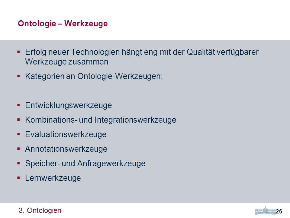 Kategorien an Ontologie-Werkzeugen: