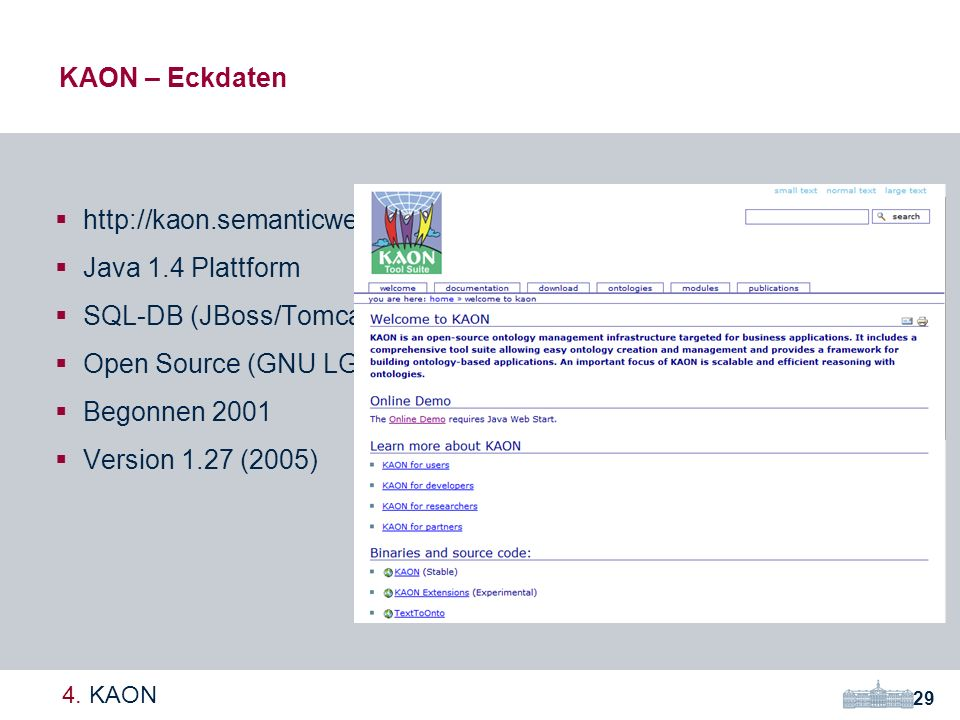SQL-DB (JBoss/Tomcat opt.) Open Source (GNU LGPL) Begonnen 2001