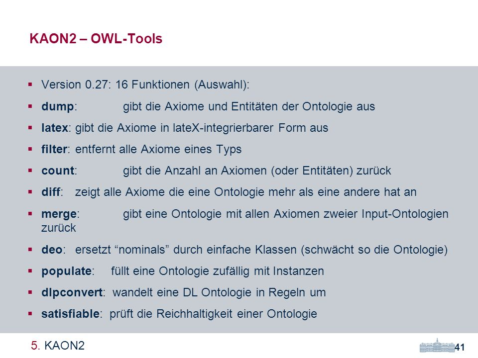 KAON2 – OWL-Tools Version 0.27: 16 Funktionen (Auswahl):