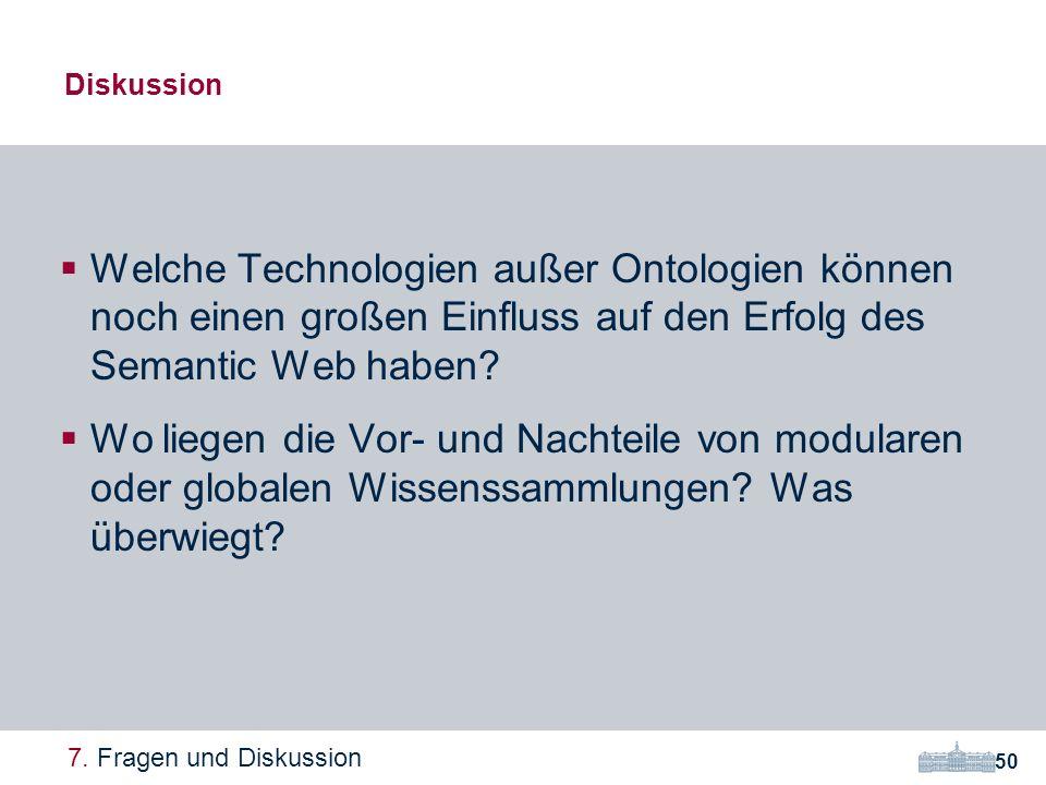 Diskussion Welche Technologien außer Ontologien können noch einen großen Einfluss auf den Erfolg des Semantic Web haben