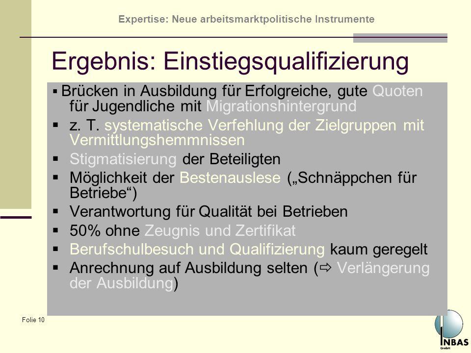 Ergebnis: Einstiegsqualifizierung