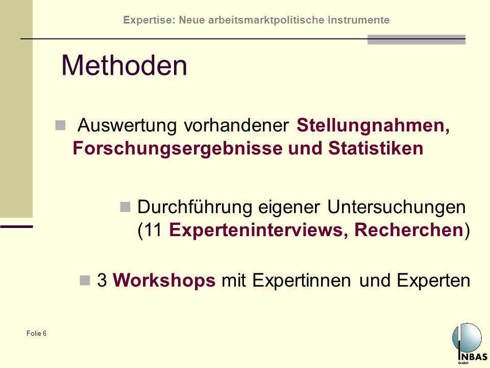 Methoden Auswertung vorhandener Stellungnahmen, Forschungsergebnisse und Statistiken.