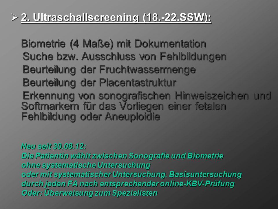 2. Ultraschallscreening (18.-22.SSW):