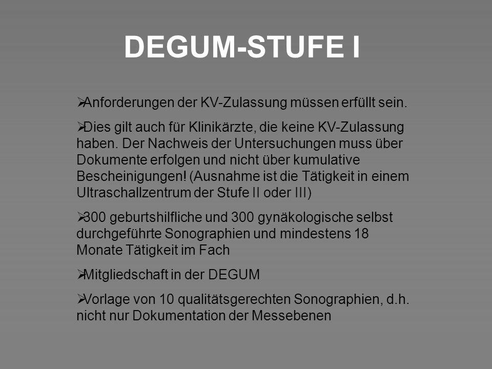 DEGUM-STUFE I Anforderungen der KV-Zulassung müssen erfüllt sein.