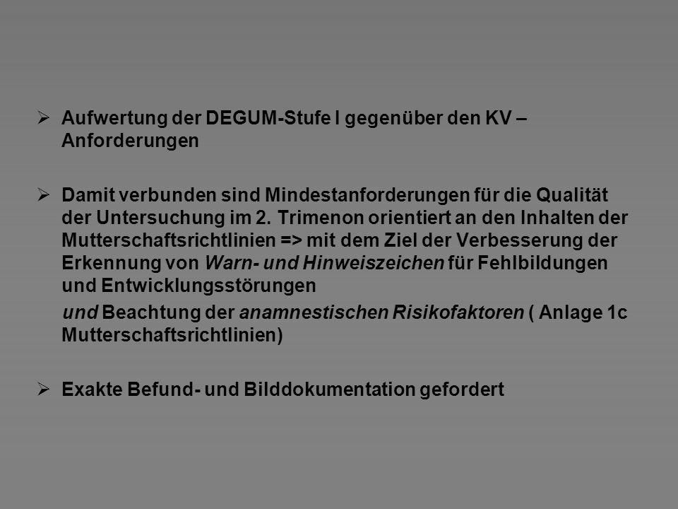 Aufwertung der DEGUM-Stufe I gegenüber den KV – Anforderungen