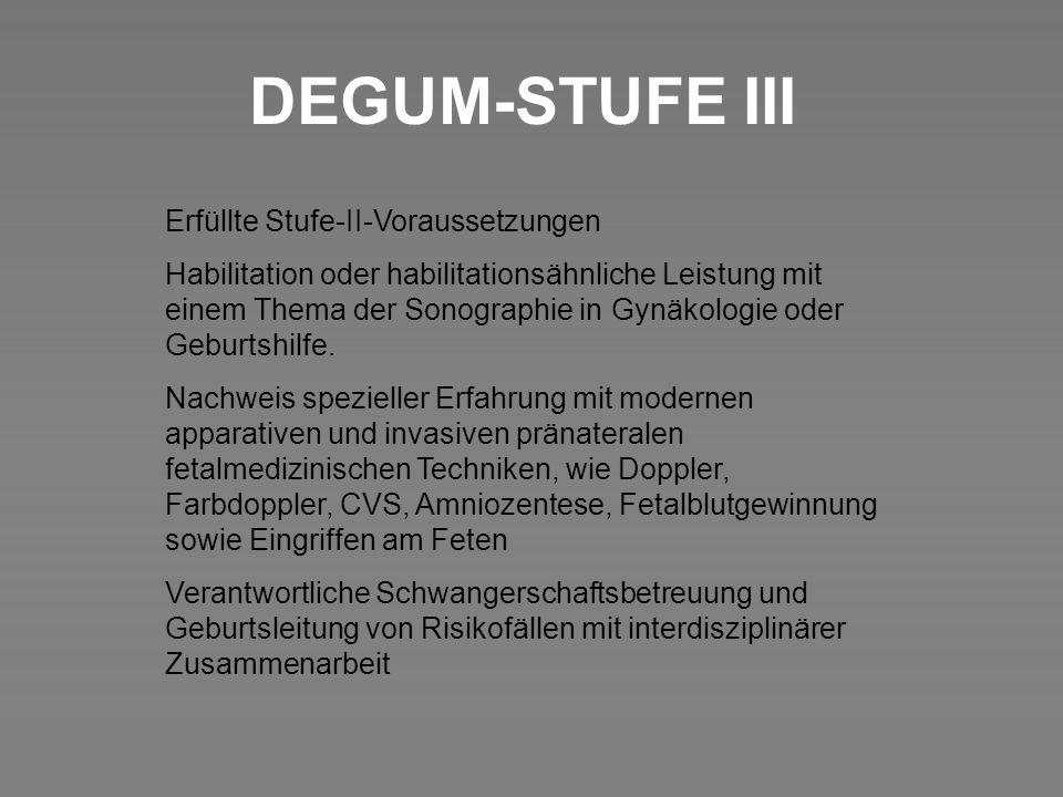 DEGUM-STUFE III Erfüllte Stufe-II-Voraussetzungen