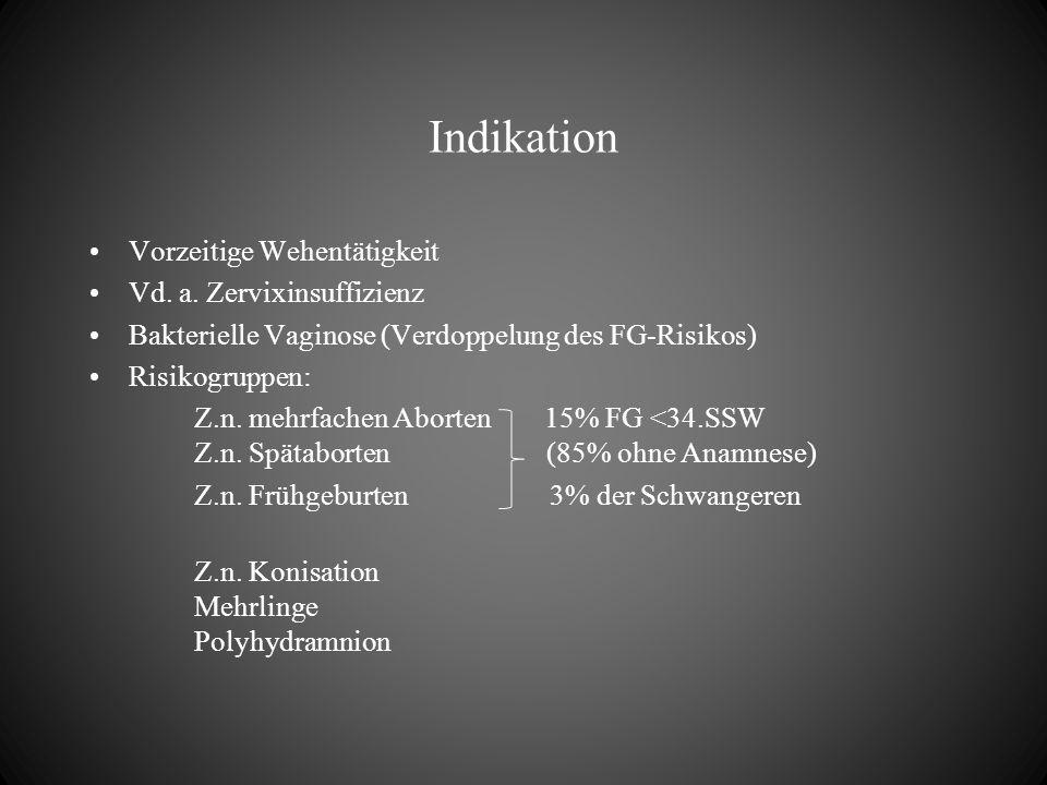 Indikation Vorzeitige Wehentätigkeit Vd. a. Zervixinsuffizienz