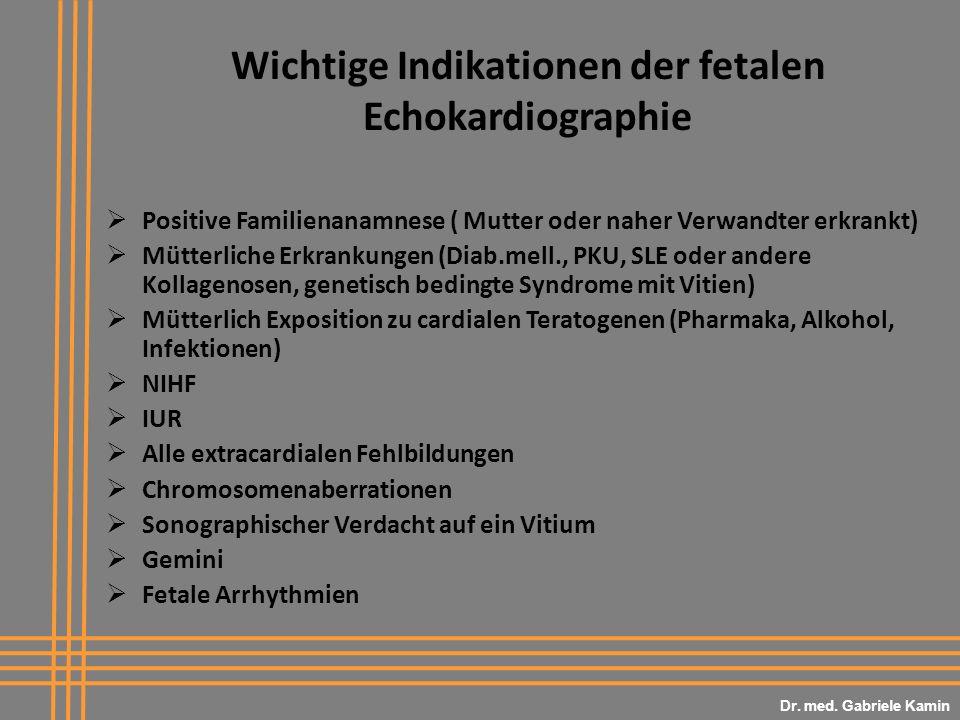 Wichtige Indikationen der fetalen Echokardiographie
