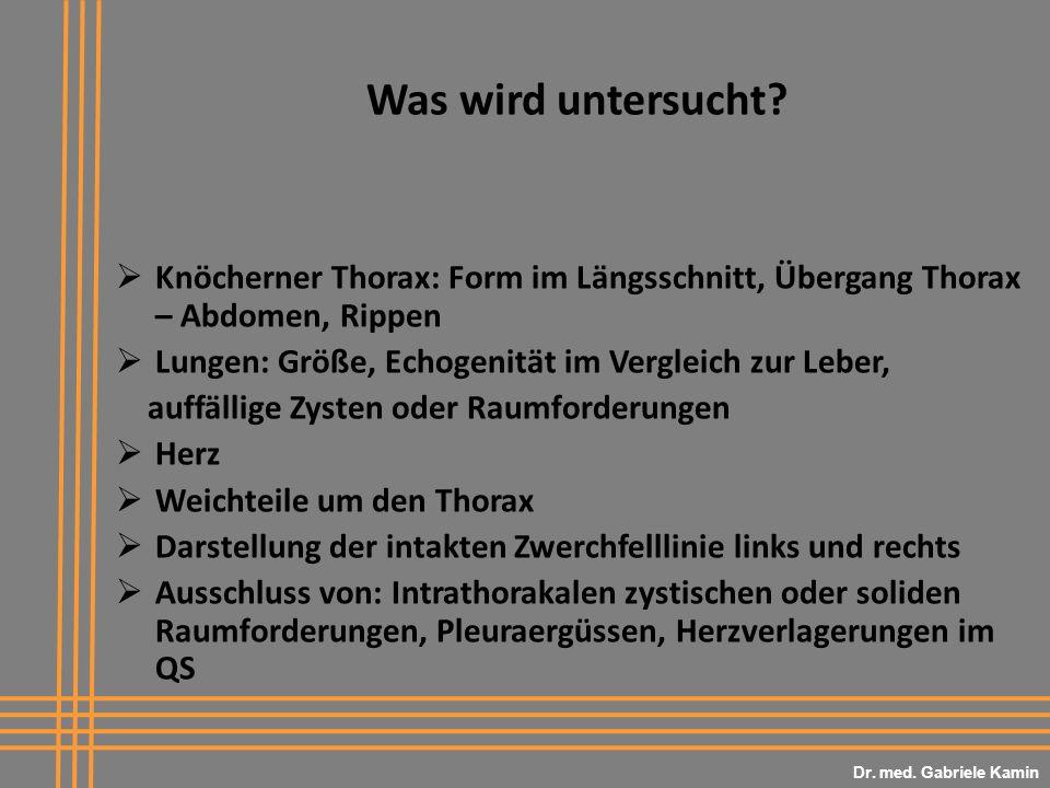 Dr. med. Gabriele Kamin Was wird untersucht Knöcherner Thorax: Form im Längsschnitt, Übergang Thorax – Abdomen, Rippen.
