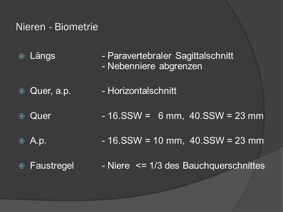 Nieren - Biometrie Längs - Paravertebraler Sagittalschnitt - Nebenniere abgrenzen. Quer, a.p. - Horizontalschnitt.