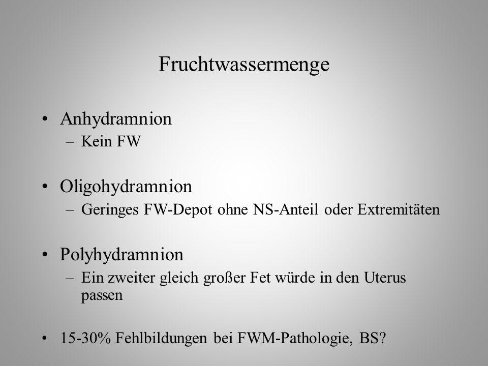 Fruchtwassermenge Anhydramnion Oligohydramnion Polyhydramnion Kein FW