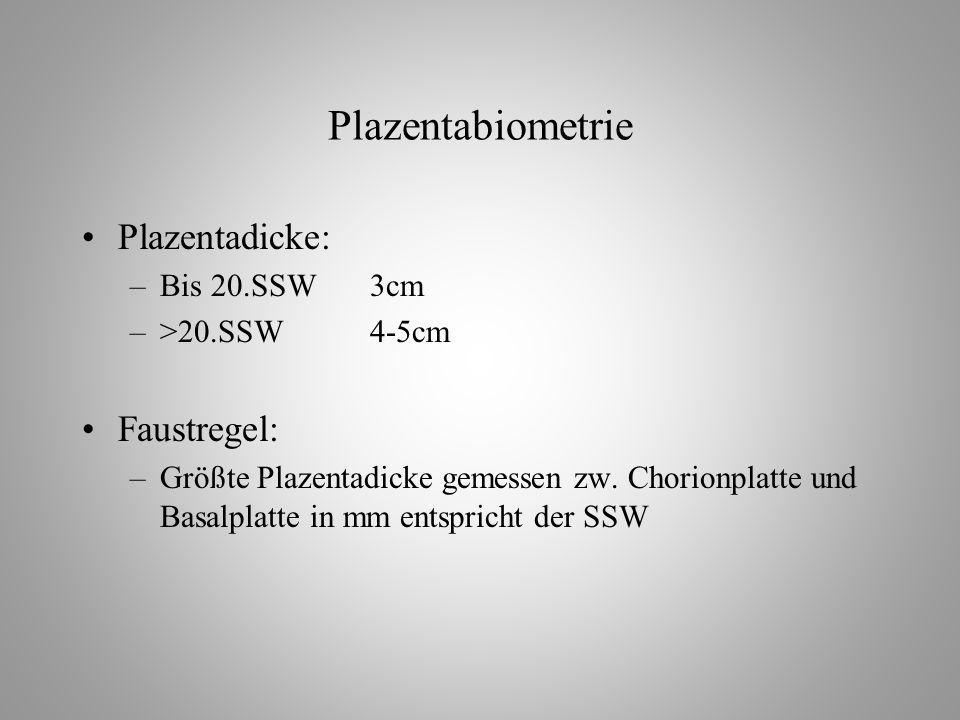 Plazentabiometrie Plazentadicke: Faustregel: Bis 20.SSW 3cm