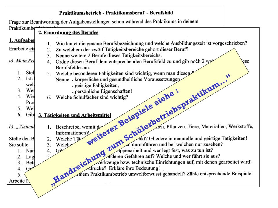 """""""Handreichung zum Schülerbetriebspraktikum..."""