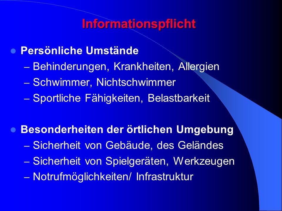 Informationspflicht Persönliche Umstände