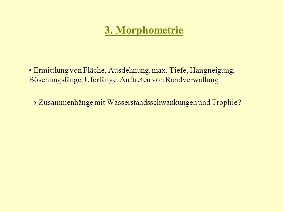 3. Morphometrie • Ermittlung von Fläche, Ausdehnung, max. Tiefe, Hangneigung, Böschungslänge, Uferlänge, Auftreten von Randverwallung.