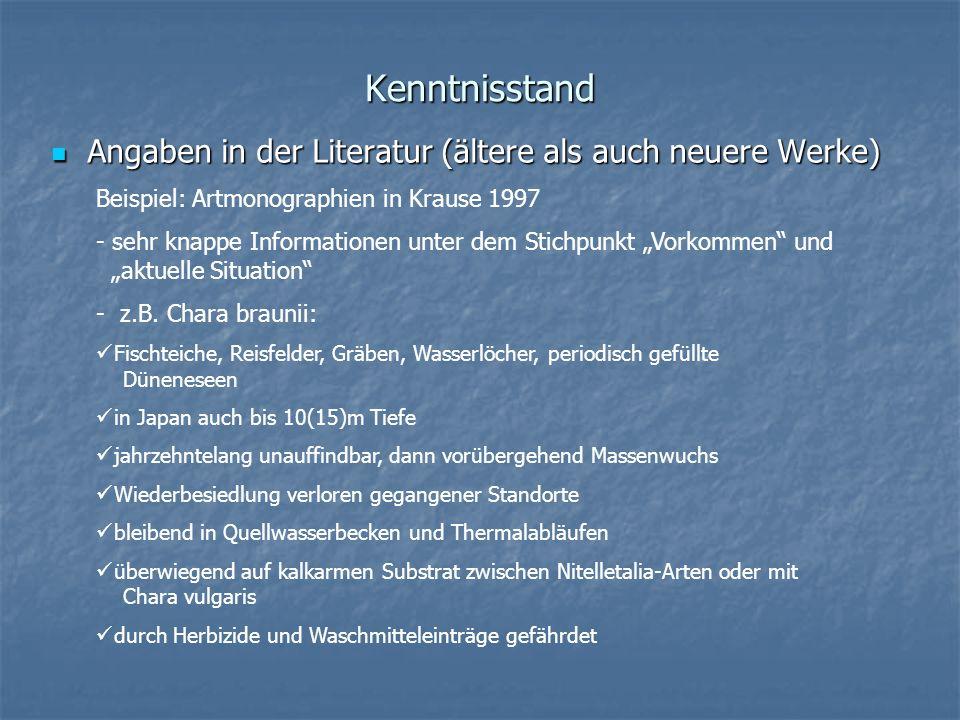 Kenntnisstand Angaben in der Literatur (ältere als auch neuere Werke)