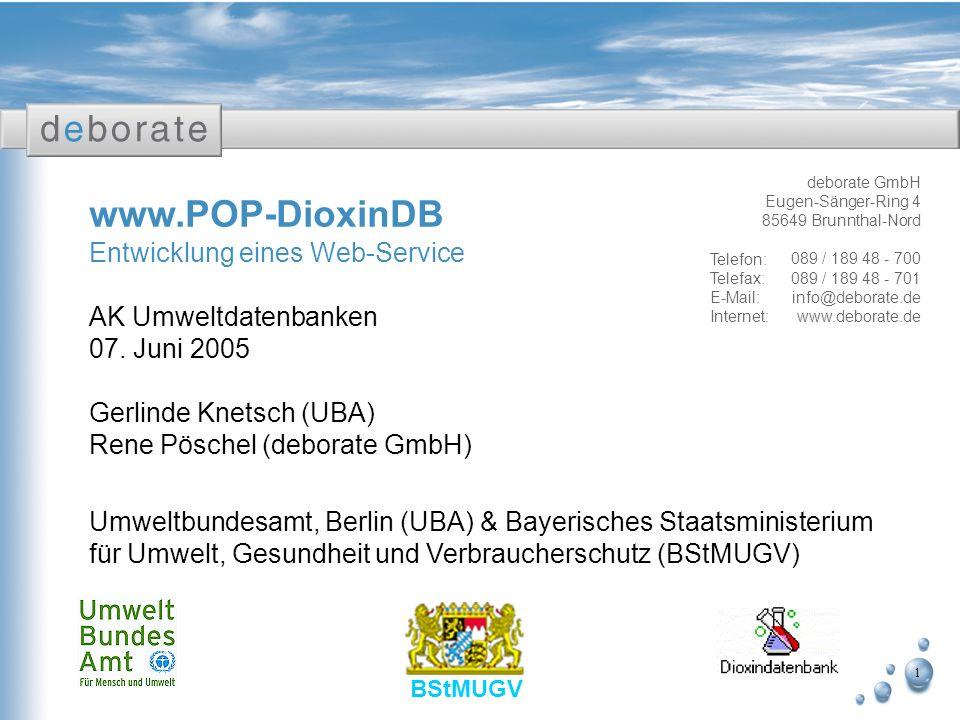 www.POP-DioxinDB Entwicklung eines Web-Service AK Umweltdatenbanken