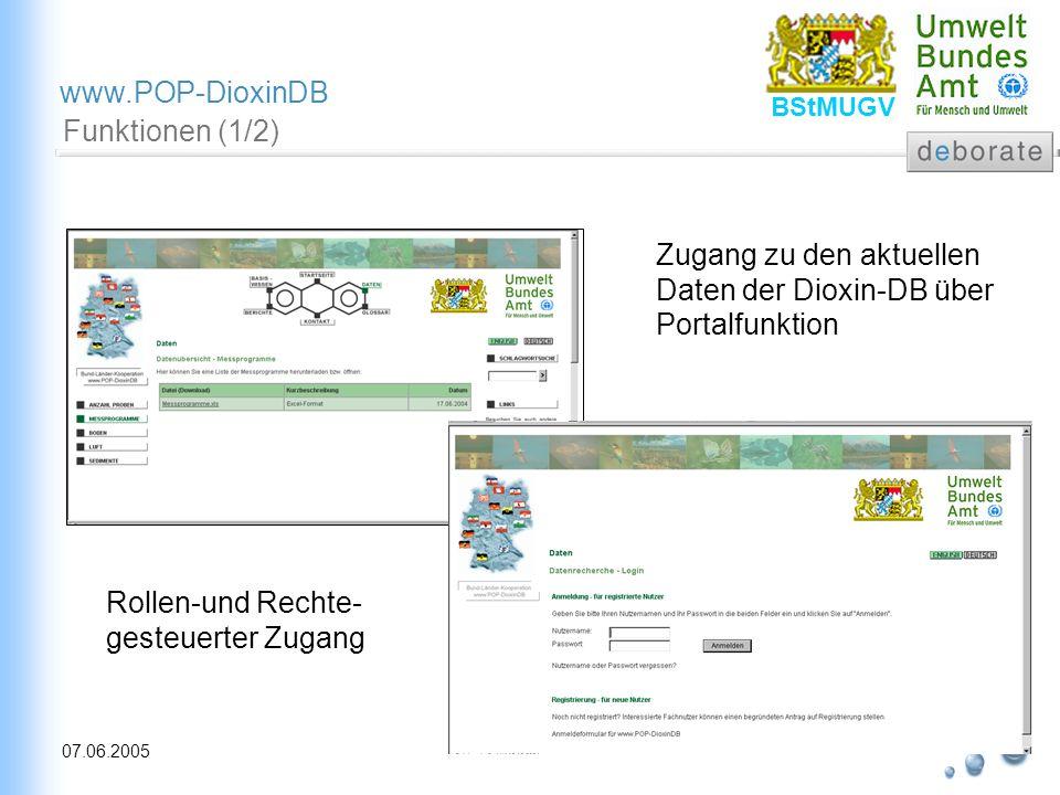 Funktionen (1/2) Zugang zu den aktuellen Daten der Dioxin-DB über Portalfunktion.