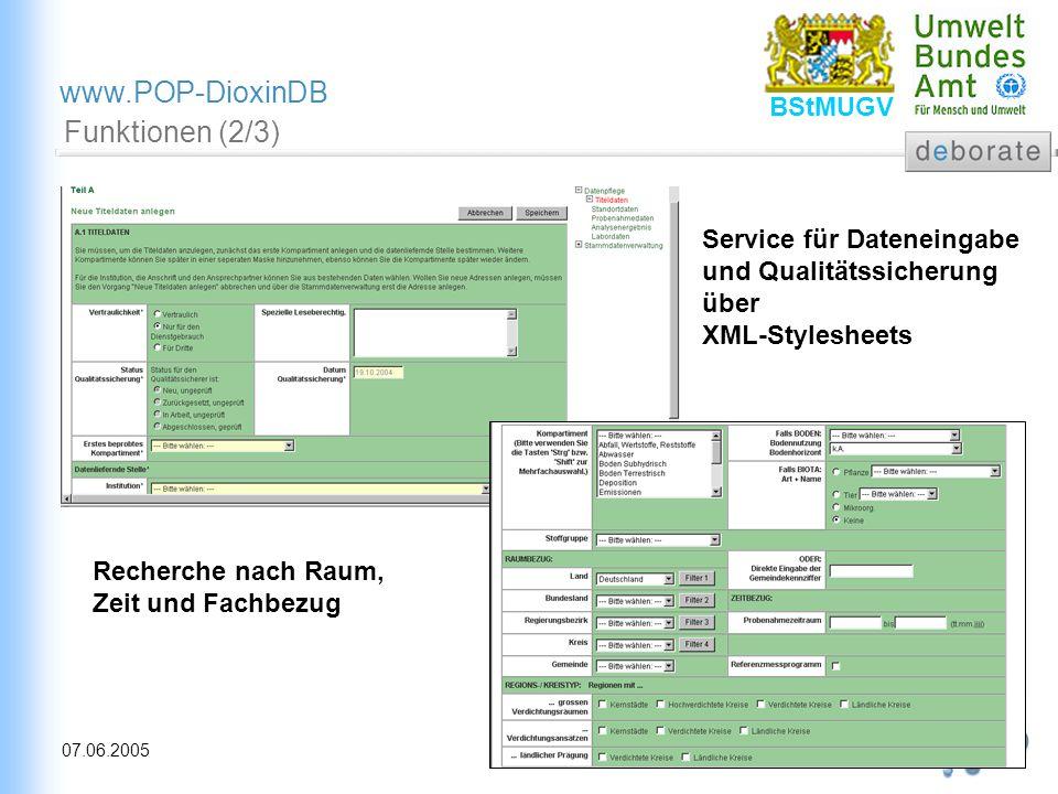 Funktionen (2/3) Service für Dateneingabe und Qualitätssicherung über