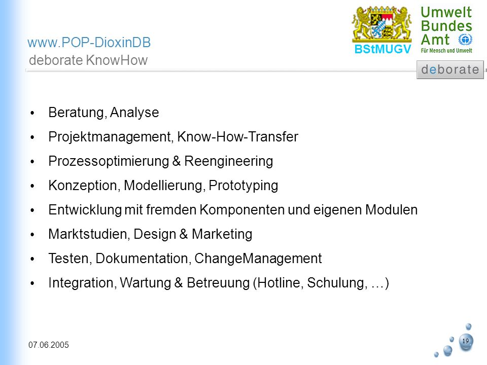 deborate KnowHowBeratung, Analyse. Projektmanagement, Know-How-Transfer. Prozessoptimierung & Reengineering.