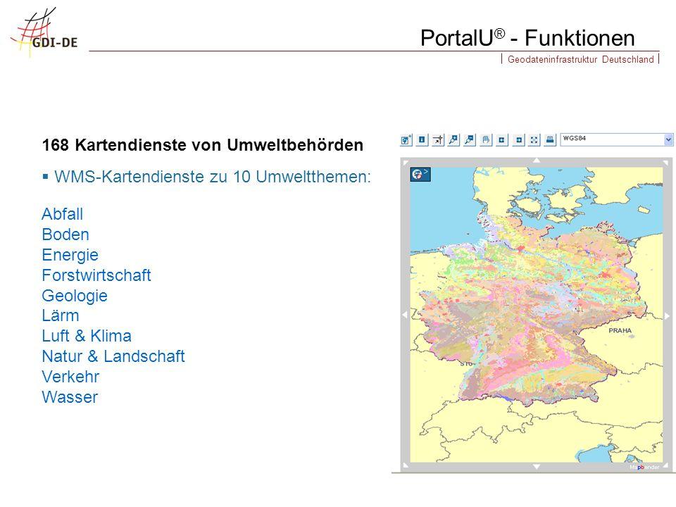 PortalU® - Funktionen 168 Kartendienste von Umweltbehörden
