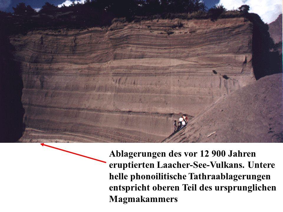 Ablagerungen des vor 12 900 Jahren eruptierten Laacher-See-Vulkans