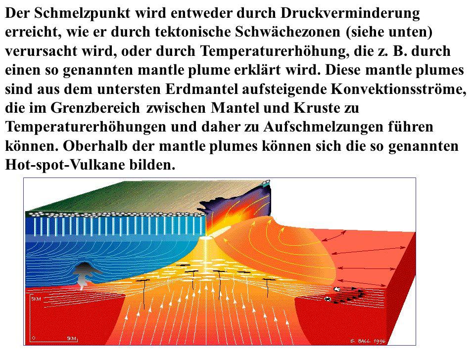 Der Schmelzpunkt wird entweder durch Druckverminderung erreicht, wie er durch tektonische Schwächezonen (siehe unten) verursacht wird, oder durch Temperaturerhöhung, die z.