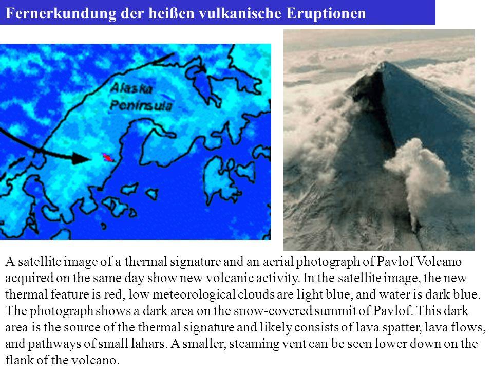 Fernerkundung der heißen vulkanische Eruptionen