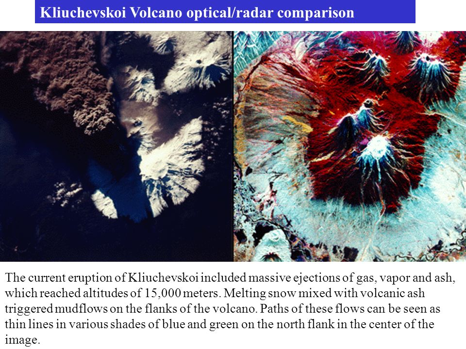 Kliuchevskoi Volcano optical/radar comparison
