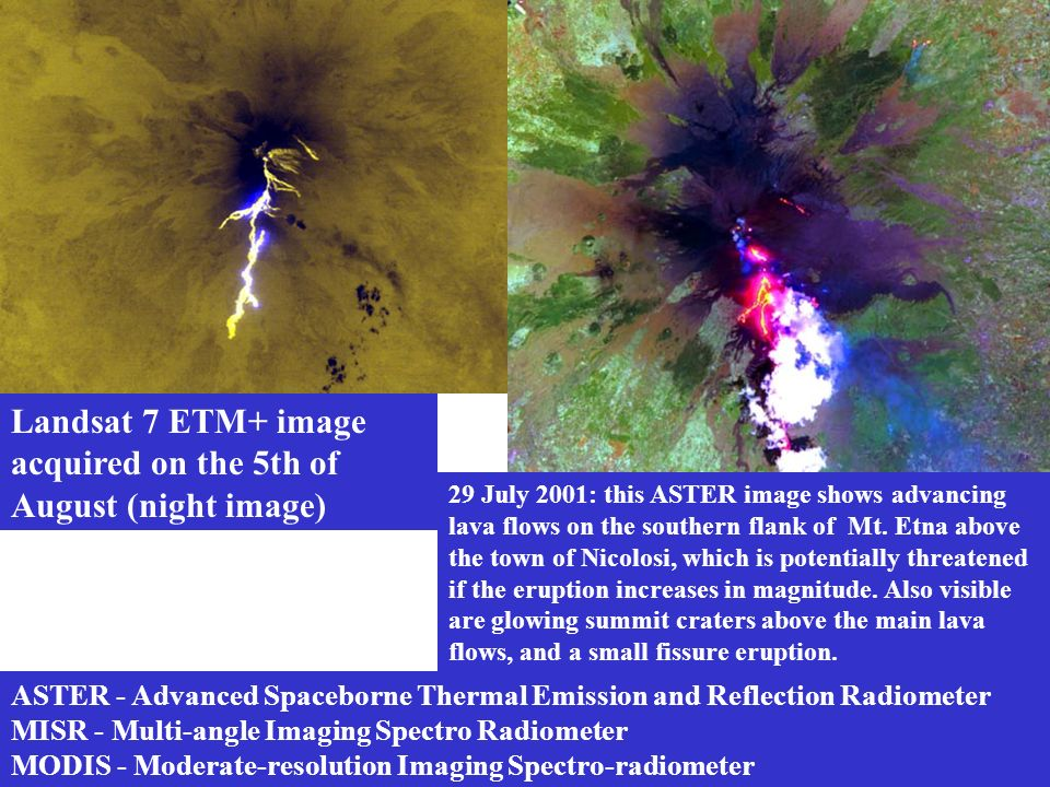 Landsat 7 ETM+ image acquired on the 5th of August (night image)