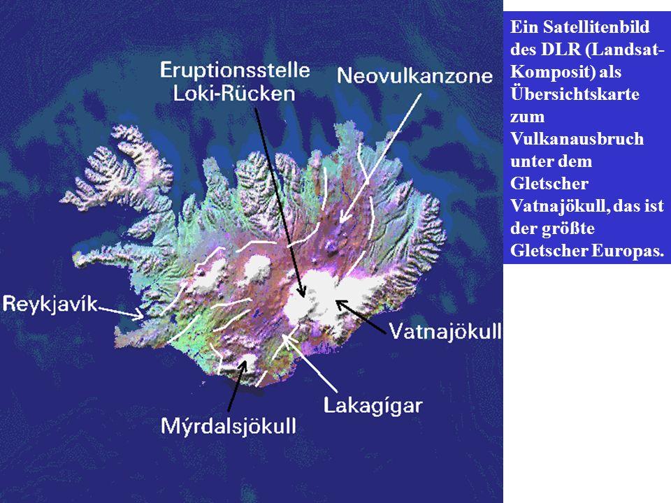 Ein Satellitenbild des DLR (Landsat-Komposit) als Übersichtskarte zum Vulkanausbruch unter dem Gletscher Vatnajökull, das ist der größte Gletscher Europas.