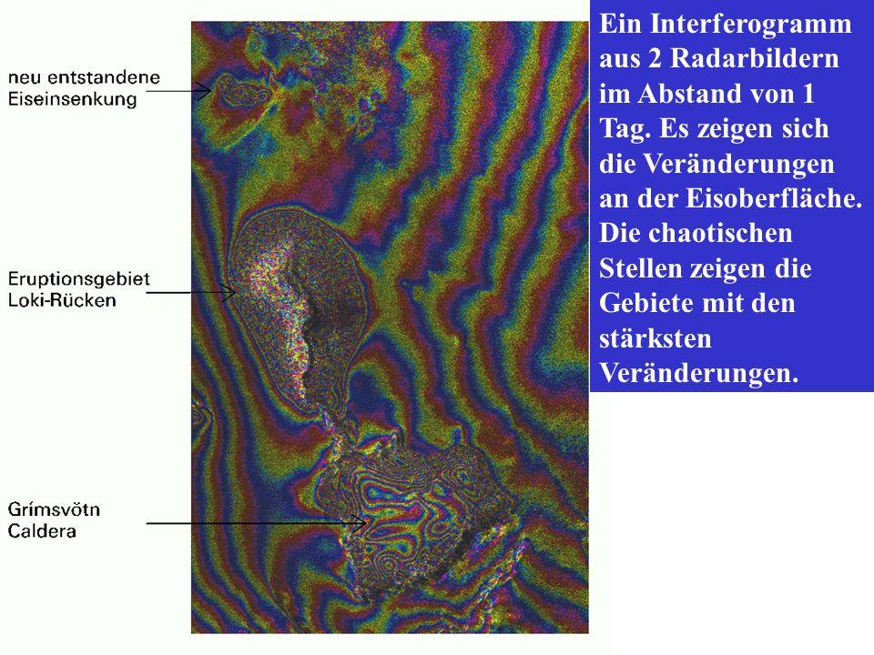 Ein Interferogramm aus 2 Radarbildern im Abstand von 1 Tag