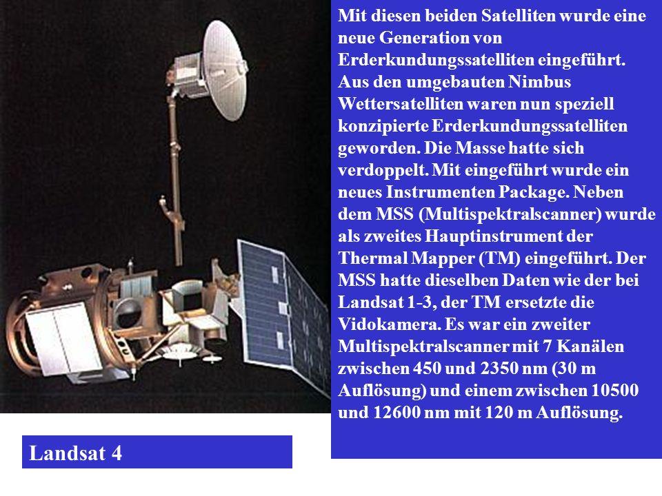 Mit diesen beiden Satelliten wurde eine neue Generation von Erderkundungssatelliten eingeführt. Aus den umgebauten Nimbus Wettersatelliten waren nun speziell konzipierte Erderkundungssatelliten geworden. Die Masse hatte sich verdoppelt. Mit eingeführt wurde ein neues Instrumenten Package. Neben dem MSS (Multispektralscanner) wurde als zweites Hauptinstrument der Thermal Mapper (TM) eingeführt. Der MSS hatte dieselben Daten wie der bei Landsat 1-3, der TM ersetzte die Vidokamera. Es war ein zweiter Multispektralscanner mit 7 Kanälen zwischen 450 und 2350 nm (30 m Auflösung) und einem zwischen 10500 und 12600 nm mit 120 m Auflösung.