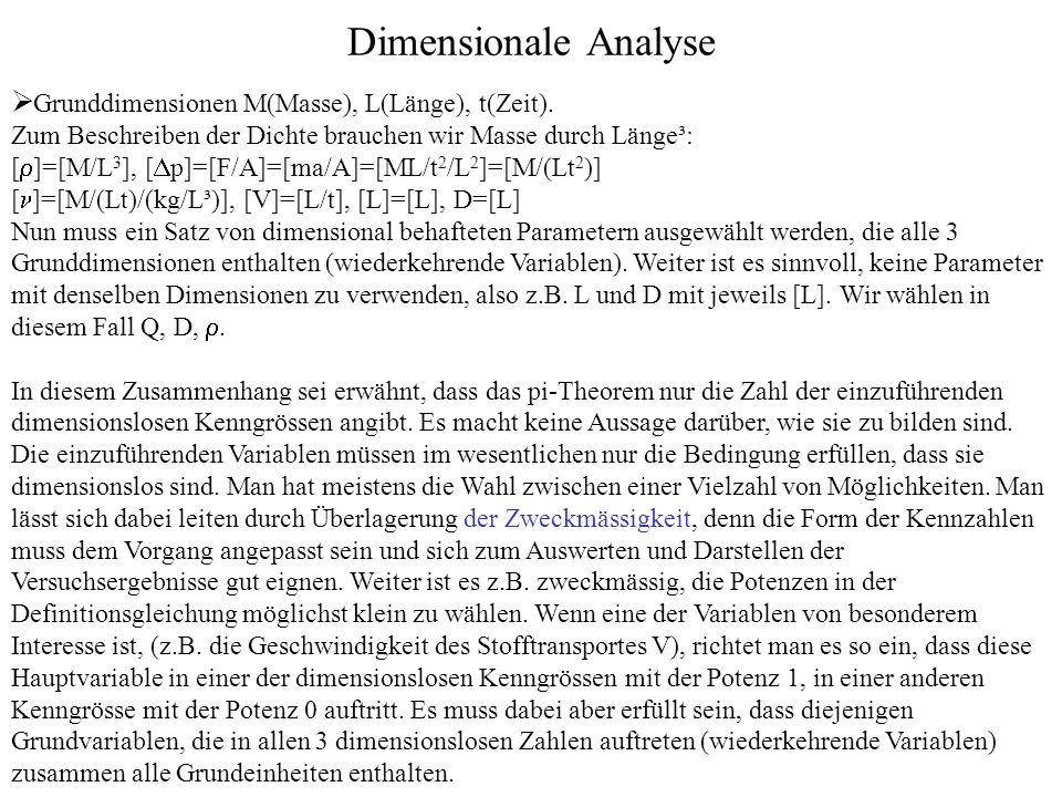 Dimensionale Analyse Grunddimensionen M(Masse), L(Länge), t(Zeit).